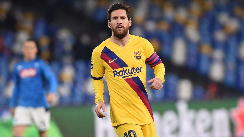 Messi, en el partido de ida de octavos ante el Nápoles.