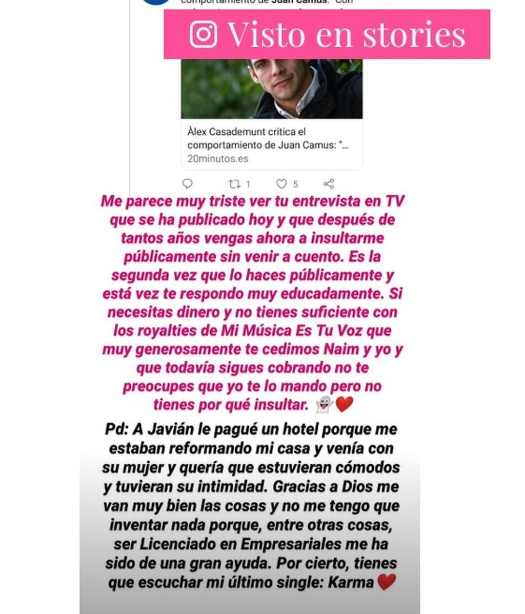 Juan Camus responde a Àlex Casademunt