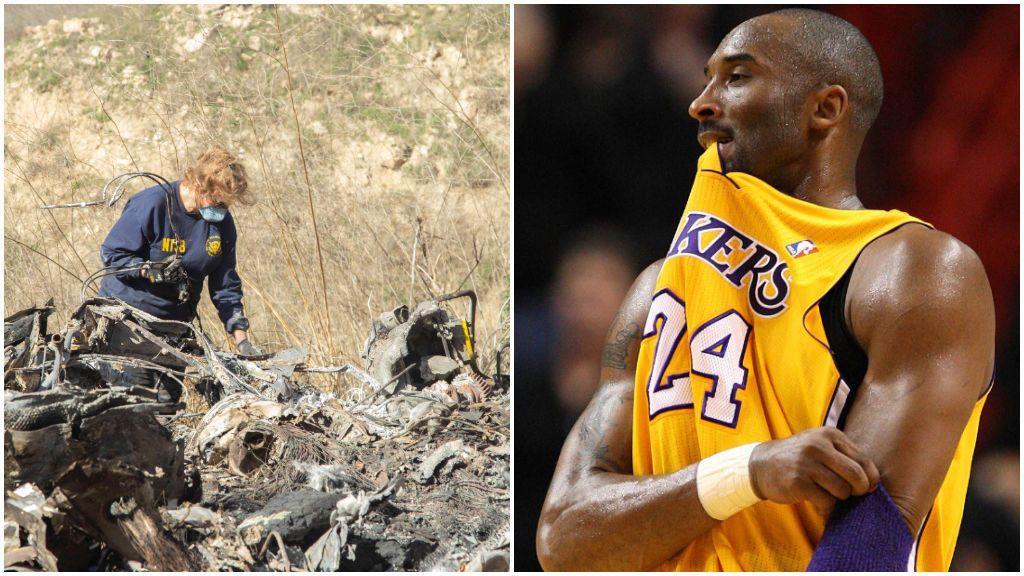 El lugar del accidente y Kobe Bryant, en un partido con los Lakers.