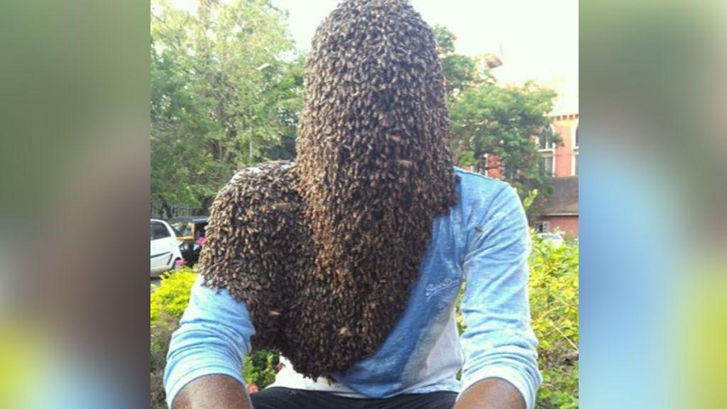 """Un joven indio deja que 60.000 abejas cubran su rostro: """"Son mis mejores amigos"""""""