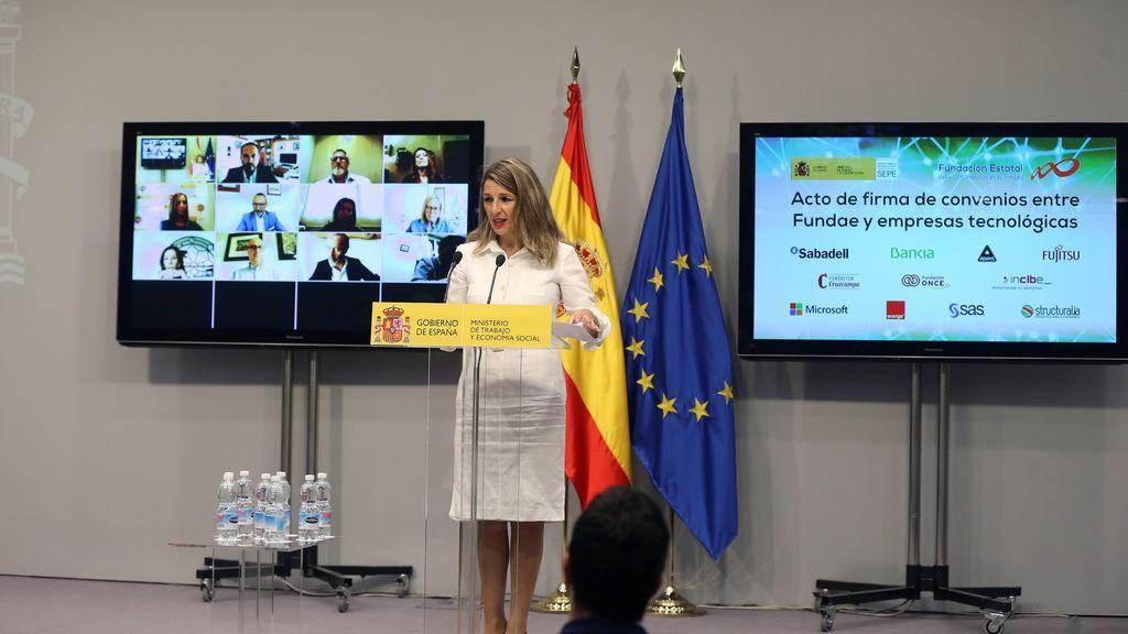 """Yolanda Díaz defiende que las empresas paguen algunos gastos del teletrabajo: """"No les puede salir gratis"""""""