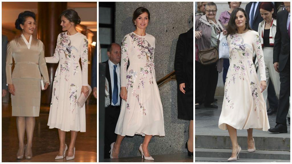 Letizia lució el mismo vestido de Asos en la Delegación China y, luego, en el el Día Mundial de la Cruz Roja y la Media Luna Roja.