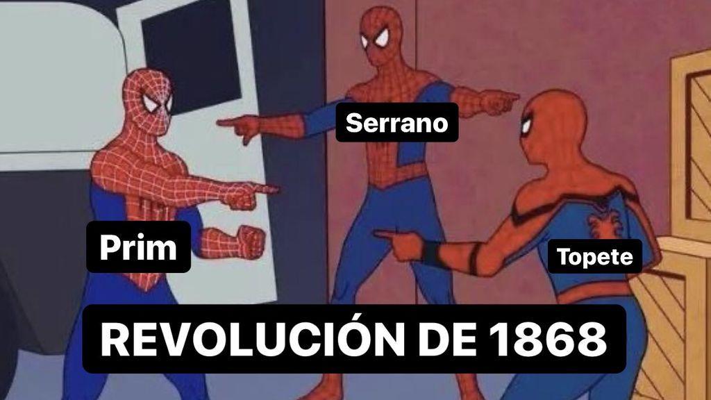Una estudiante resume el temario de selectividad de historia de España con memes