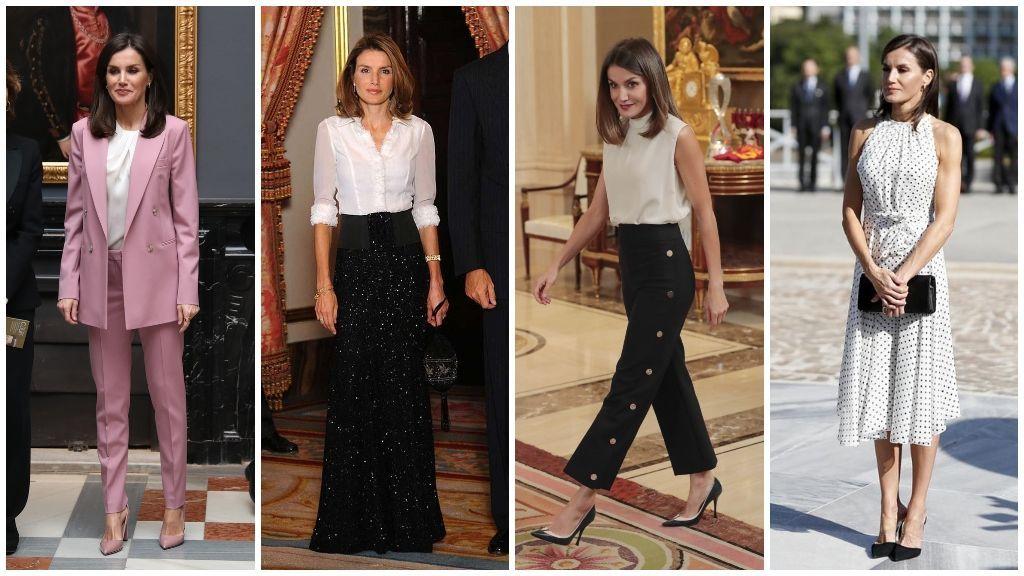 A la hora de vestir, la reina suele decantarse por trajes, faldas y camisas y vestidos entallados sin mangas.