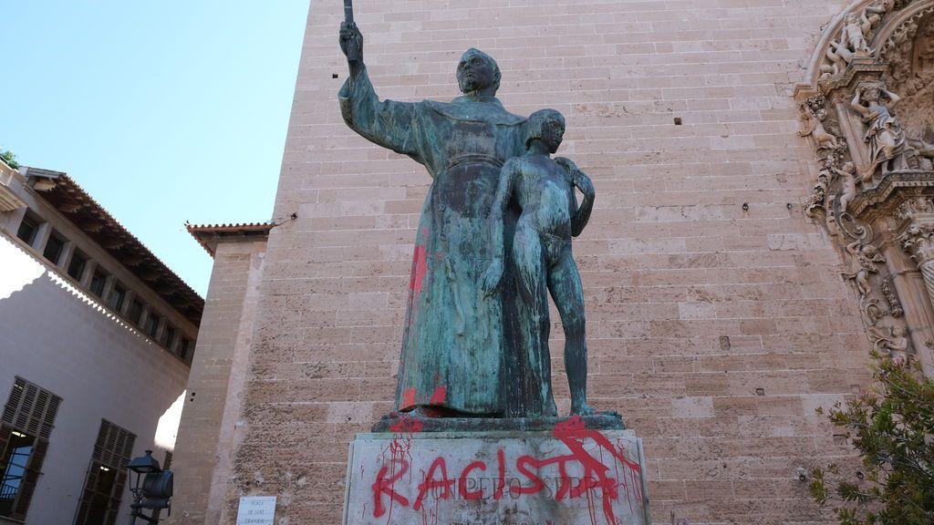 Atacan la estatua de fray Junípero Serra en Mallorca tras los sucesos de EE.UU