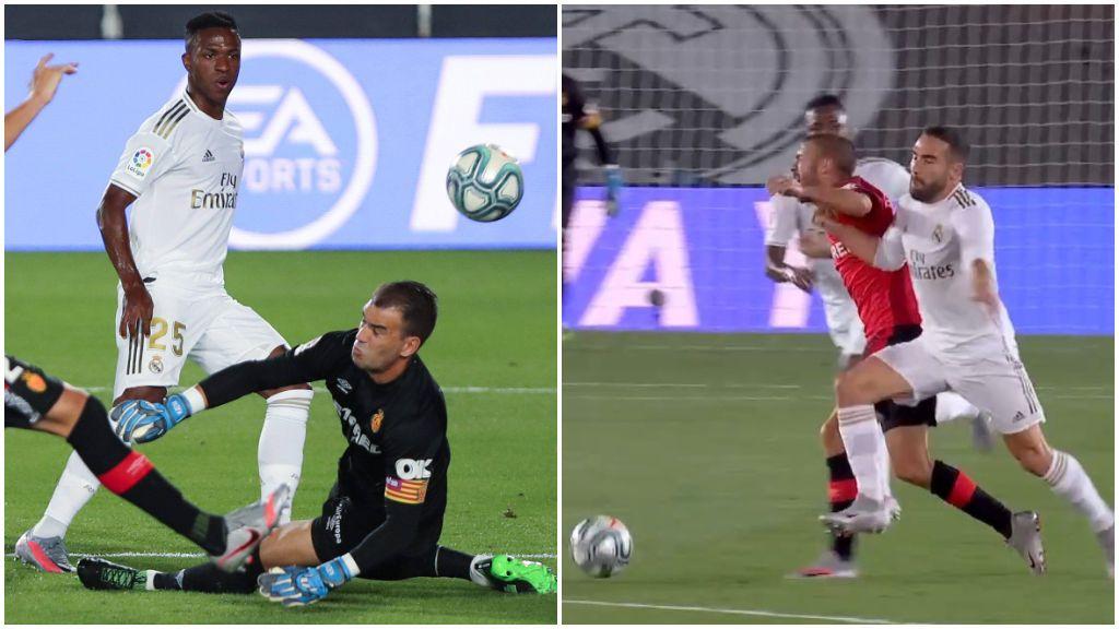 Vinicius, en la jugada del gol, y Carvajal con Dani Rodríguez.