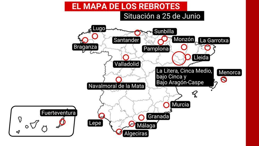 El mapa de los rebrotes de coronavirus en España