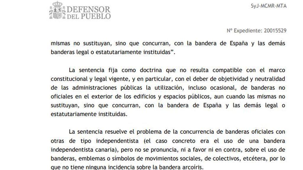 Extracto de la respuesta del Defensor del Pueblo Español