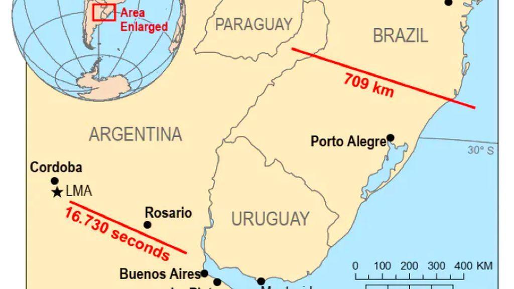 Registran el 'megarelámpago' más largo de la historia : atravesó desde Argentina a Brasil
