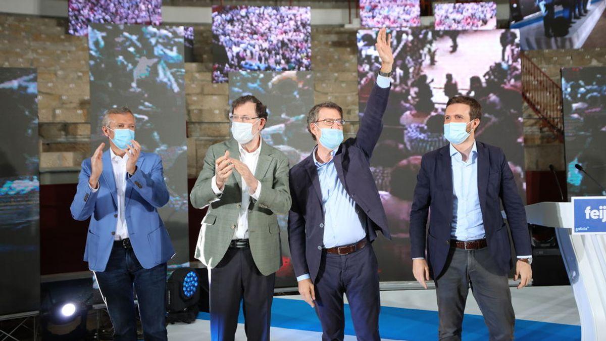 Casado y Rajoy arropan a Feijóo en un mitin en POntevedra