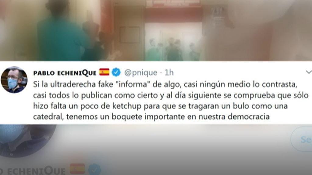 """Echenique, sobre la agresión a Rocío de Meer: """"Solo hizo falta un poco de ketchup para que se tragaran un bulo"""""""