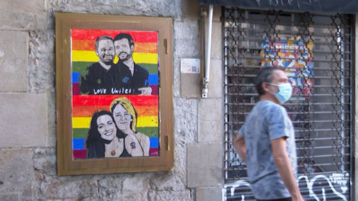 Casado con Abascal y Arrimadas con Álvarez de Toledo: el último mural de Tvboy por el Día del Orgullo Gay
