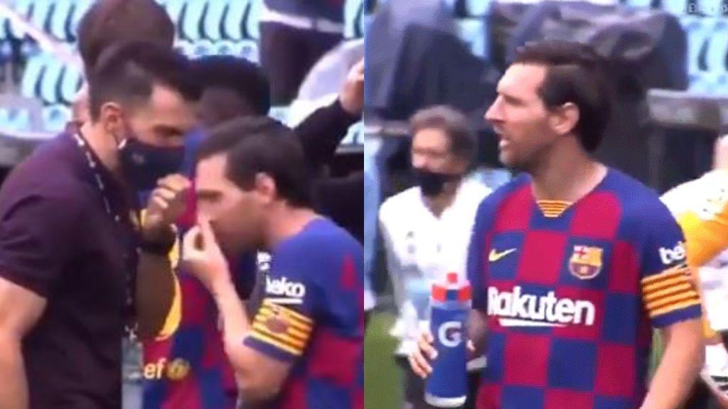 Messi ignora a Sarabia y se aleja del corrillo.