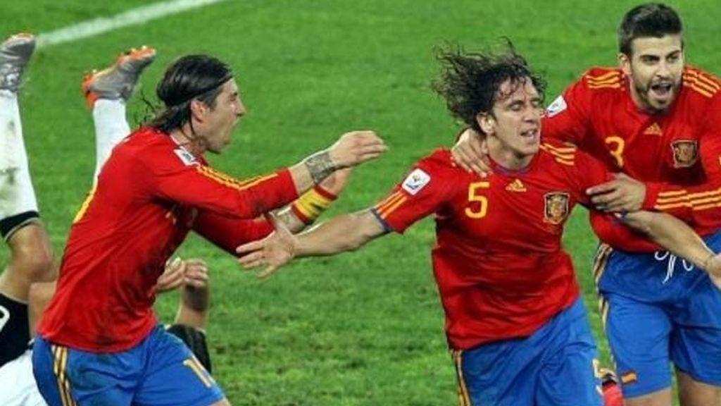Puyol celebrando el gol