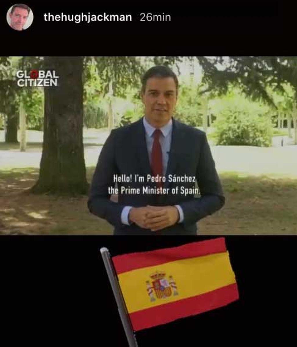 Story de Hugh Jackman con un vídeo de Pedro Sánchez