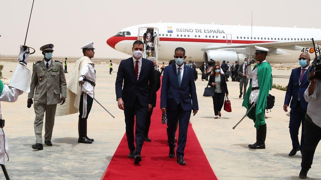 Sánchez a su llegada a Mauritania