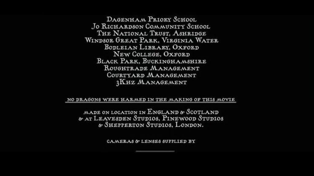 Créditos del 'Cáliz de fuego' donde aparece la mención a los dragones