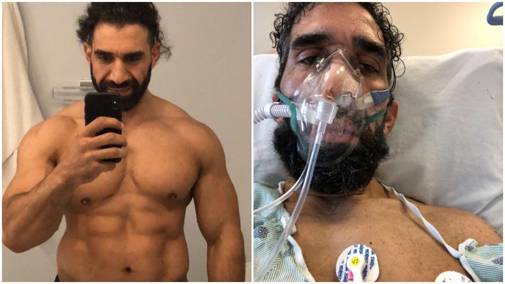 Ahmad Ayyad, con el respirador en el hospital.