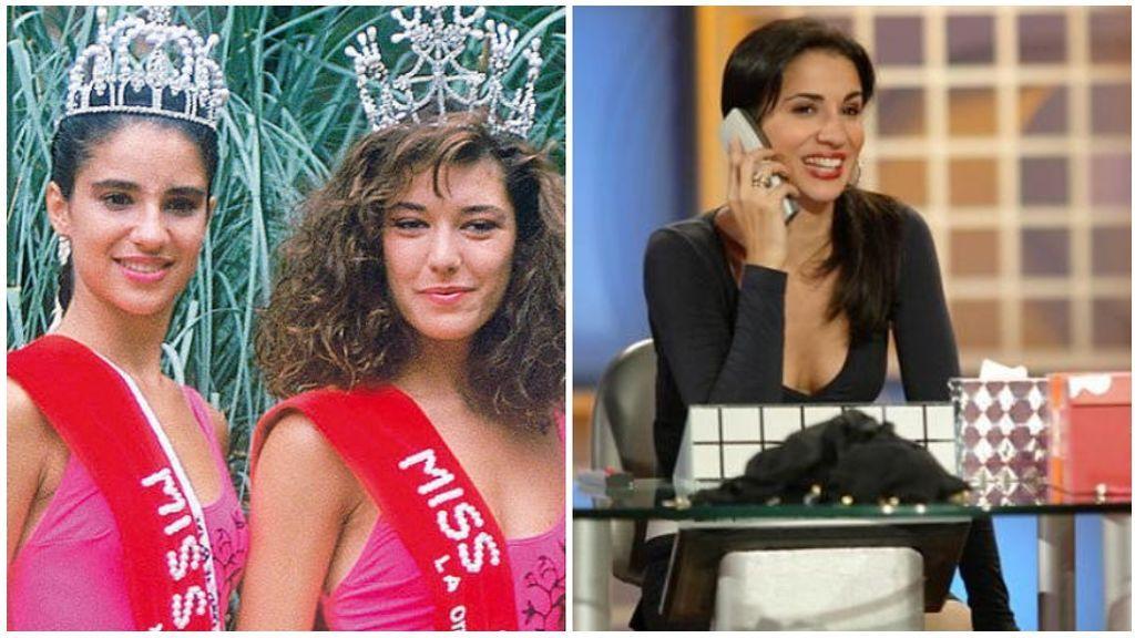 Silvia Jato, en el certamen de Miss España, a la izquierda, y presentando 'Alla tú', en la imagen de la derecha.