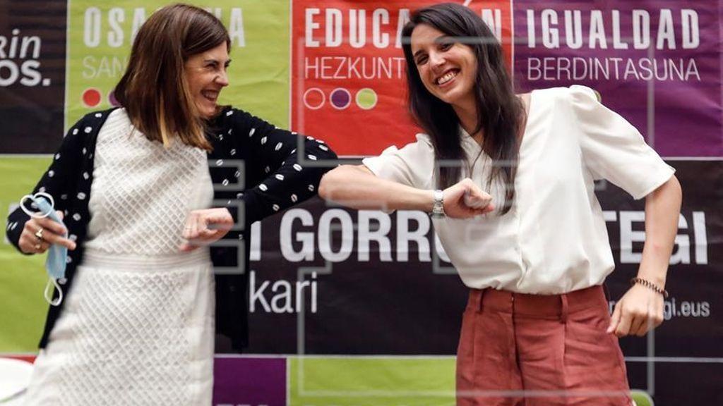 Irene Montero hace campaña en el País Vasco frente a un desaparecido Pablo Iglesias