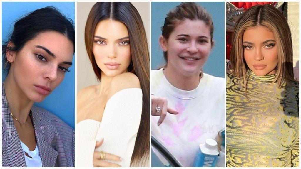 Kendall y Kylie, sin y con maquillaje.