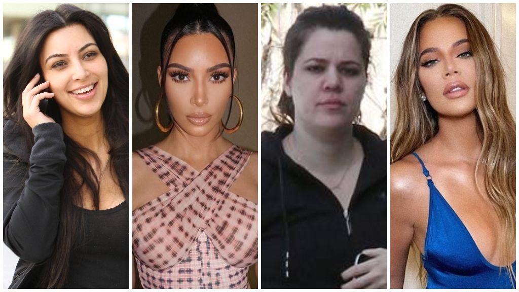 Kim y Khloé Kardashian, con y sin maquillaje.