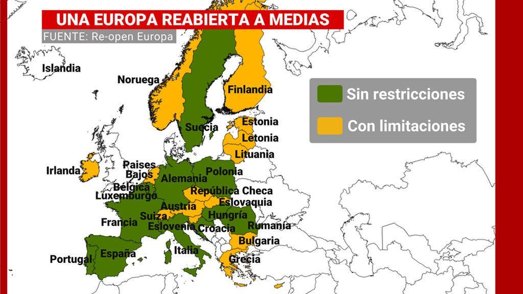 Una Europa reabierta a medias.