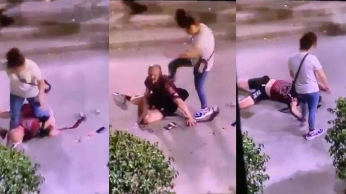 Una mujer le da una brutal paliza a un hombre en Hospitalet de Llobregat