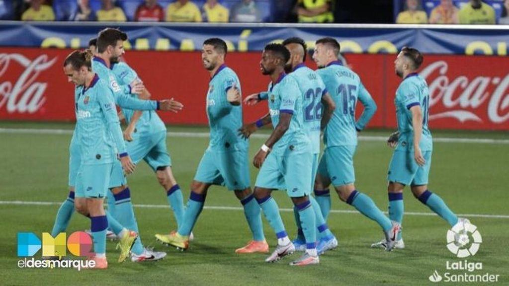 Celebración del Barcelona en Villarreal