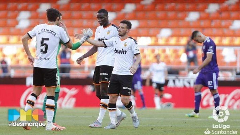 Celebración del Valencia ante el Valladolid