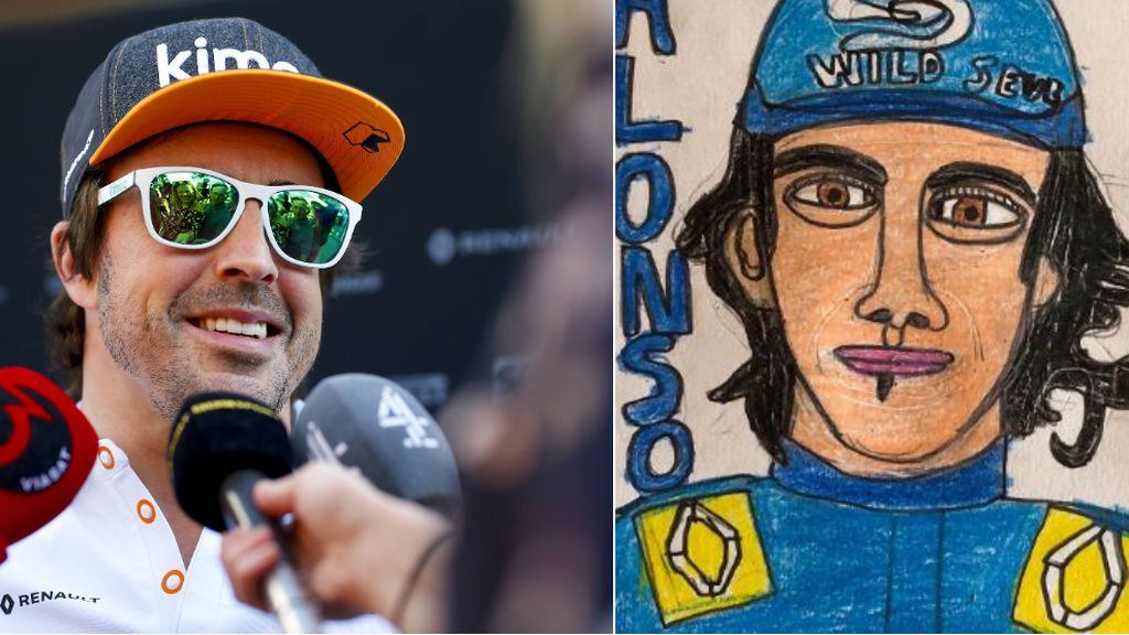 """El dibujo de un niño autista que ha emocionado a Alonso: """"Me lo guardo"""""""