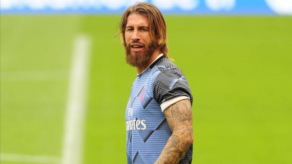Sergio Ramos, antes de un partido con el Real Madrid.