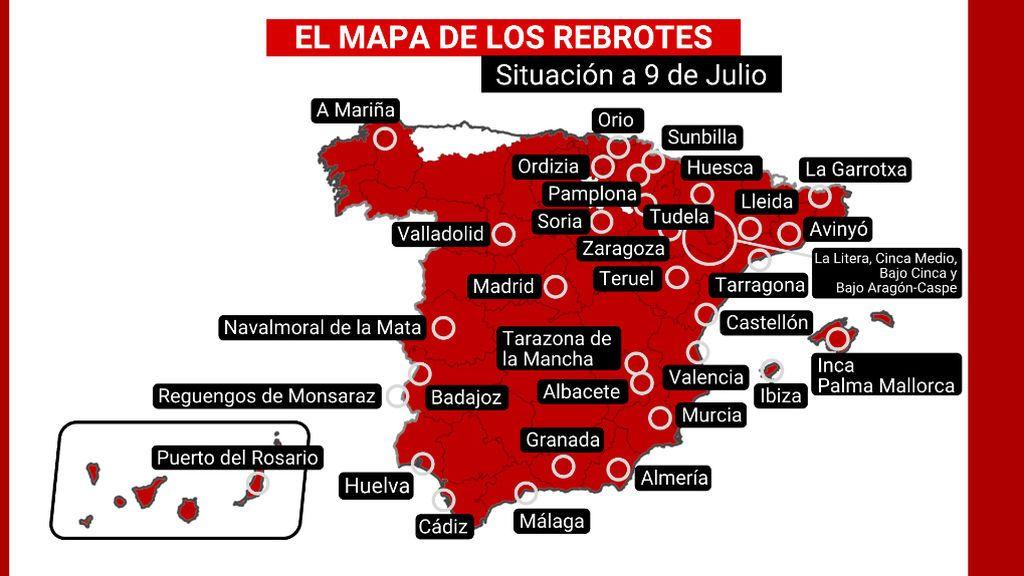 El mapa de los 75 rebrotes en España: dos nuevos focos en Navarra en las últimas horas