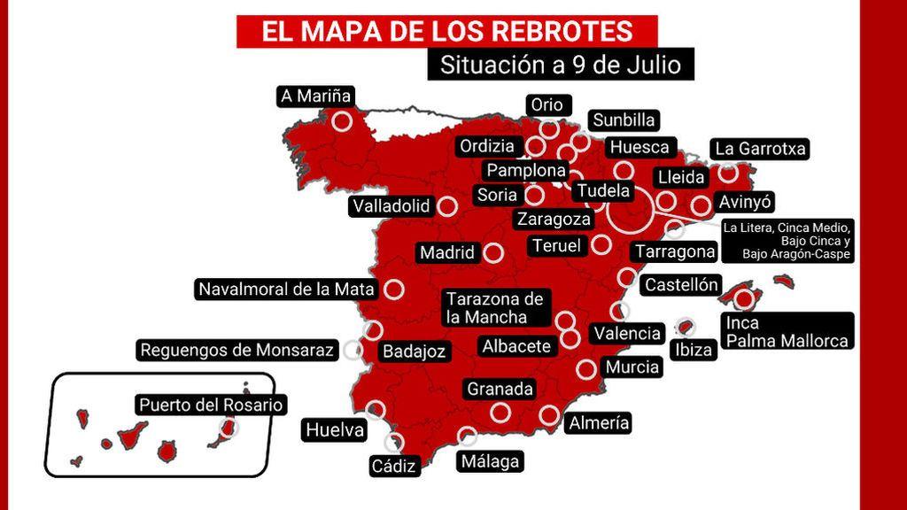 El mapa de los rebrotes en España: dos nuevos focos en Madrid y uno en Málaga en las últimas horas