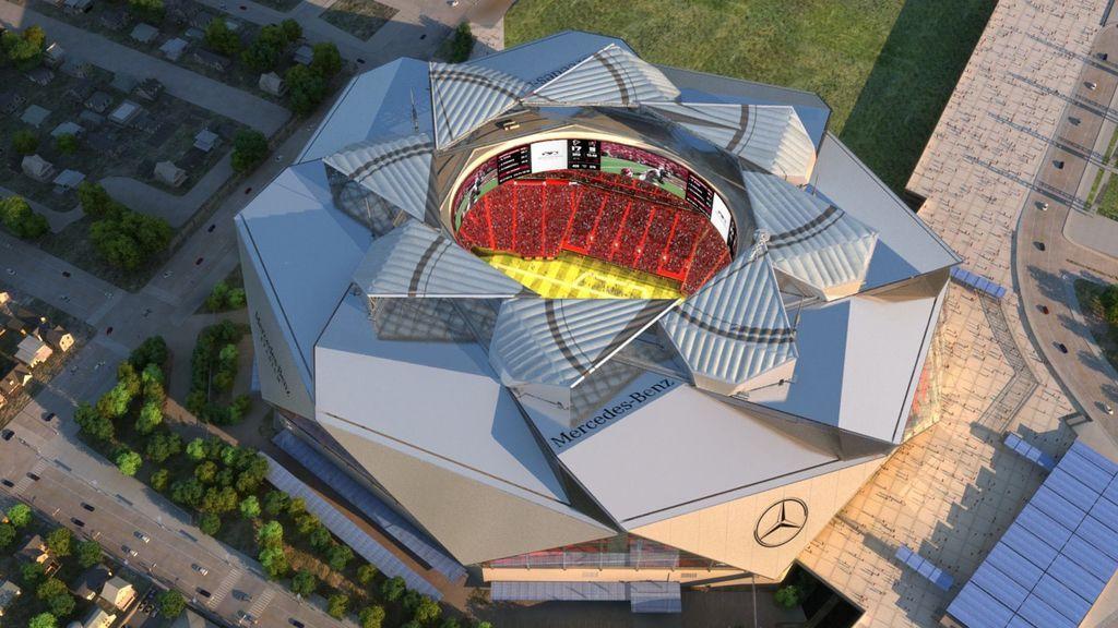 vista aérea del Mercedes-Benz Stadium de la NFL