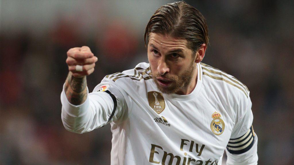 Ramos celebra un gol esta temporada.